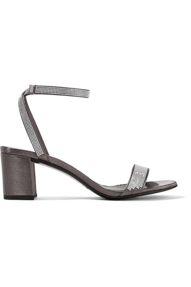 Pedro Garcia - Xela Crystal-embellished Satin Sandals - Dark gray at NET-A-PORTER