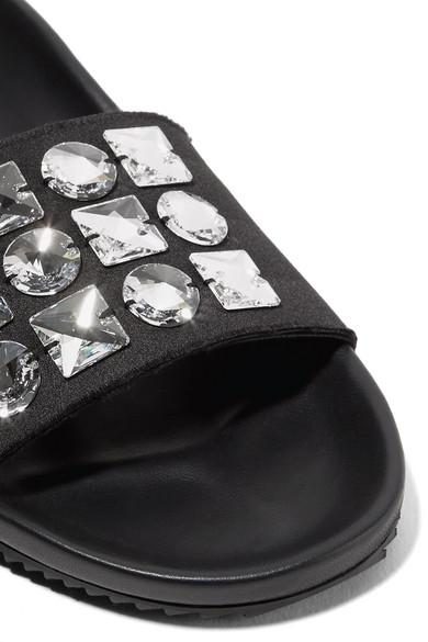 Freies Modernes Verschiffen Billig Verkauf 2018 Pedro Garcia Amery Pantoletten aus Satin und Leder mit Swarovski-Kristallen Wählen Sie Eine Beste Manchester GH730BNxf