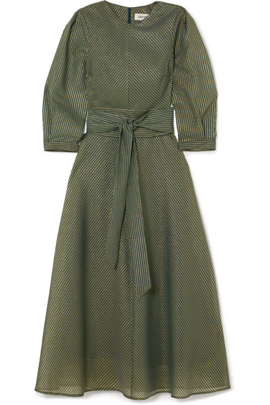 Cefinn Striped Dress In Metallic Voile Made Of A Cotton Blend With Belt