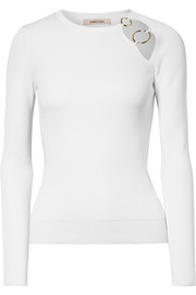 Sienna cutout embellished ribbed-knit top