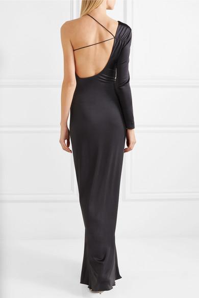 Cushnie et Ochs Leonora verzierte Robe aus glänzendem Jersey mit asymmetrischer Schulterpartie