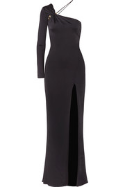 Leonora one-shoulder embellished satin-jersey gown