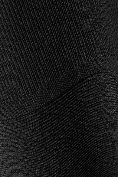 Cushnie et Ochs Vika Minikleid aus geripptem Stretch-Strick mit asymmetrischer Schulterpartie