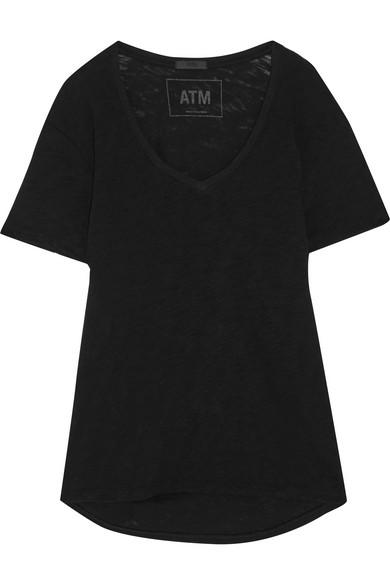 ATM Anthony Thomas Melillo Boyfriend T-Shirt aus Baumwoll-Jersey mit Flammgarneffekt