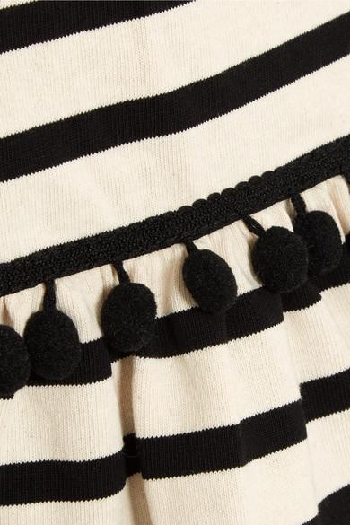 Marc Jacobs Gestreiftes Minikleid aus Baumwoll-Jersey mit Pompons