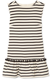 Marc Jacobs Pompom-embellished striped cotton-jersey mini dress