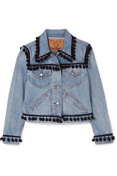 cropped-pompom-embellished-denim-jacket by marc-jacobs