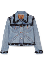 Marc Jacobs Cropped pompom-embellished denim jacket