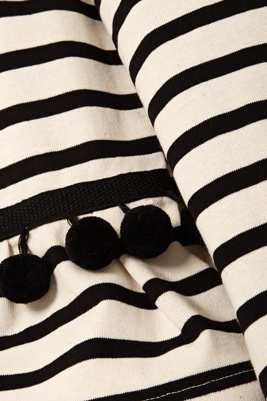 Marc Jacobs Gestreiftes Oberteil aus Baumwoll-Jersey mit Pompons