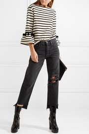 Marc Jacobs Pompom-embellished striped cotton-jersey top