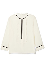 Marc Jacobs Grosgrain-trimmed ruffled silk crepe de chine blouse