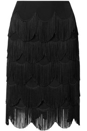 Fringed crepe skirt