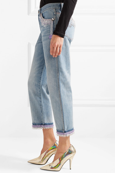 Marc Jacobs Verkürzte Boyfriend-Jeans mit Zierperlen