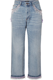 Marc Jacobs Cropped bead-embellished boyfriend jeans