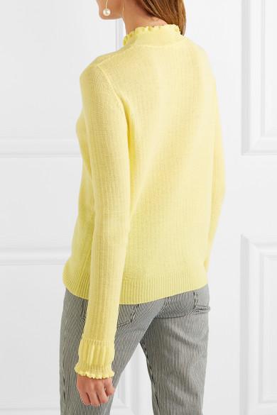Marc Jacobs Rollkragenpullover aus gerippter Wolle mit Rüschen Bester Großhandel Günstig Online jQ2GIjiZo