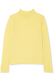 Marc Jacobs Ruffled ribbed wool turtleneck sweater