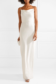 Crepe-trimmed satin gown