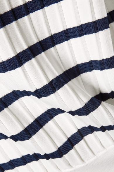 Jason Wu Schulterfreier Pullover aus gestreiftem Stretch-Strick