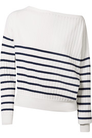 Jason Wu Off-the-shoulder striped stretch-knit sweater