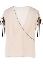Jason Wu Embellished crinkled silk-crepon blouse