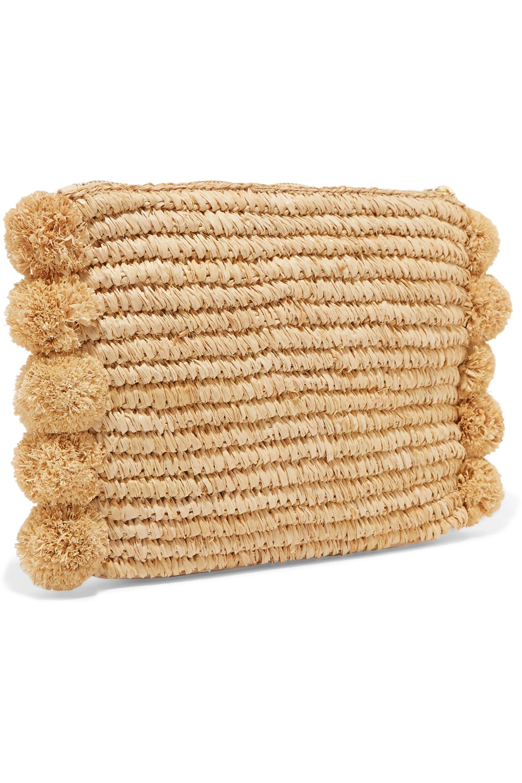 Loeffler Randall Pompom-embellished leather-trimmed straw clutch