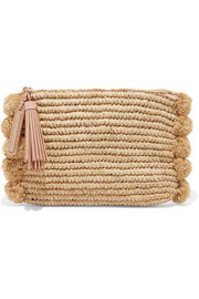 Pompom-embellished leather-trimmed straw clutch