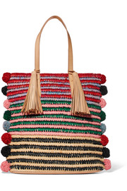 Cruise pompom-embellished leather-trimmed straw tote