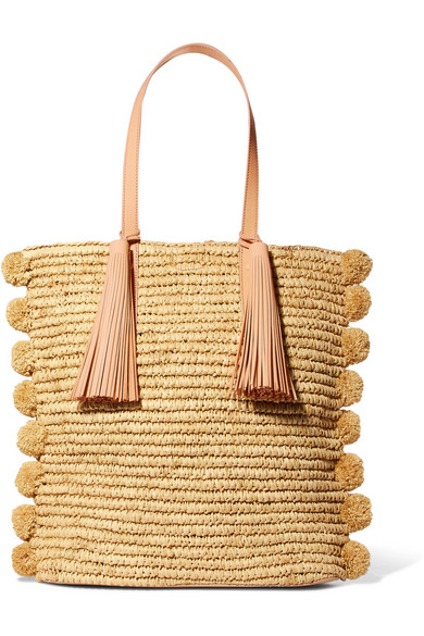 Loeffler Randall - Cruise Pompom-embellished Leather-trimmed Straw Tote - Beige