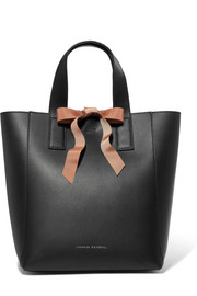 Grosgrain-trimmed textured-leather tote