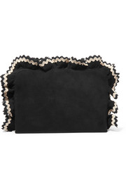 Attache ruffled rickrack-trimmed suede clutch