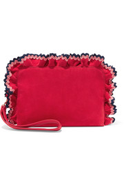 Attache rickrack-trimmed suede clutch