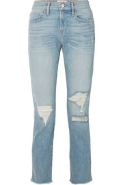 FRAME Le Boy cropped distressed high-rise straight-leg jeans