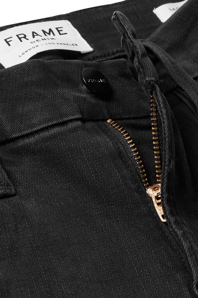 FRAME Le Crop Mini halbhohe Bootcut-Jeans mit Verzierungen und Fransen
