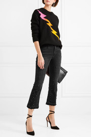 Le Crop Mini embellished frayed mid-rise bootcut jeans