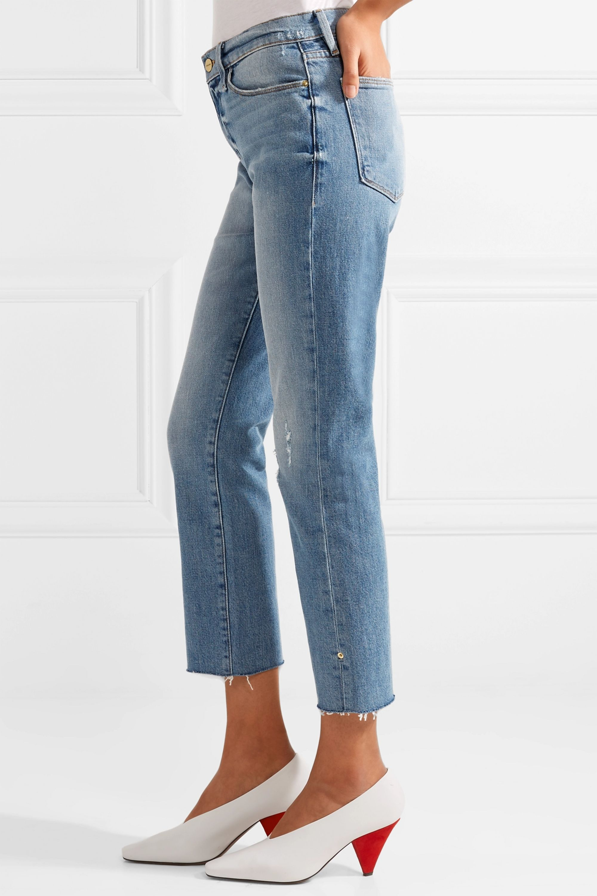 FRAME Le High distressed cropped straight-leg jeans
