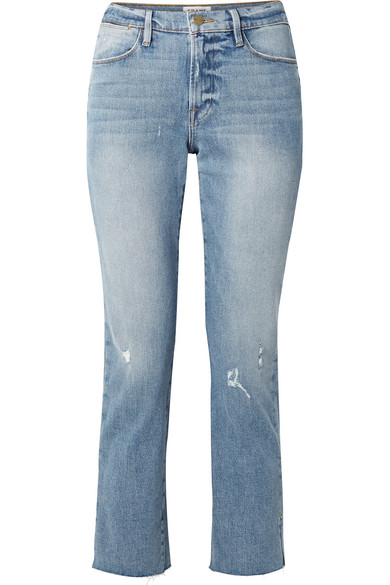 FRAME Le High verkürzte Jeans mit geradem Bein in Distressed-Optik