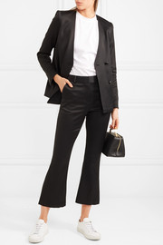 Cropped satin flared pants