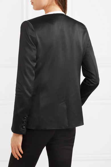 Frame Double Breasted Blazer From Satin