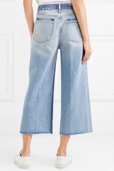 FRAME Le Reconstructed halbhohe Jeans mit geradem Bein in Distressed-Optik