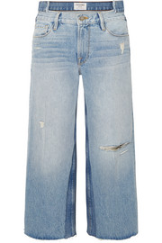 Le Reconstructed distressed mid-rise straight-leg jeans