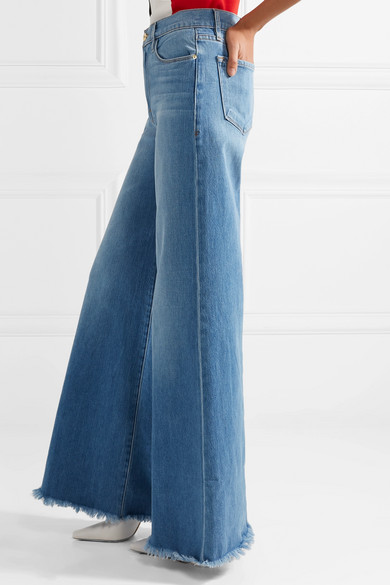 8346217cdc FRAME. Le Palazzo frayed high-rise wide-leg jeans.  102. Play