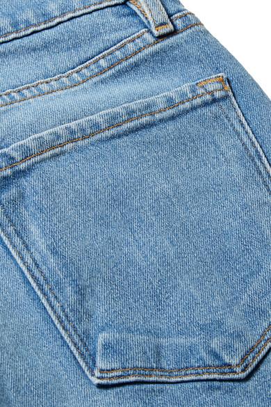 FRAME Le Palazzo hoch sitzende, gefranste Jeans mit weitem Bein