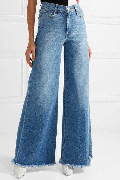 89896227f0 Le Palazzo frayed high-rise wide-leg jeans
