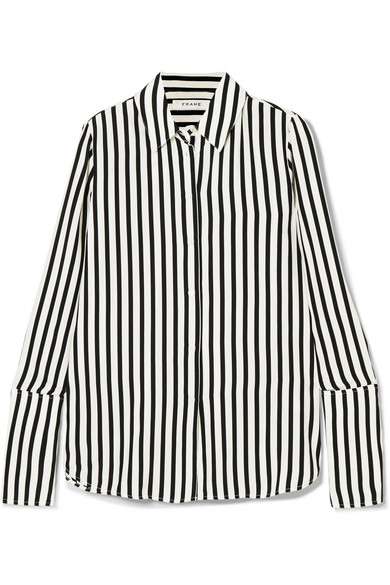 FRAME. Striped silk crepe de chine shirt
