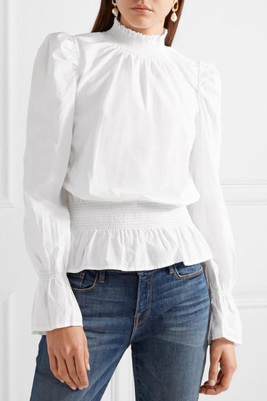 FRAME Gesmokte Bluse aus Baumwollpopeline