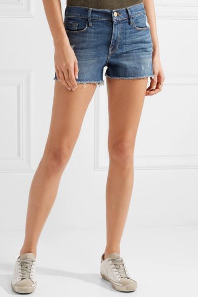 FRAME Le Cutoff Shorts aus Stretchdenim in Distressed-Optik