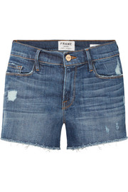 FRAME Le Cutoff distressed stretch-denim shorts