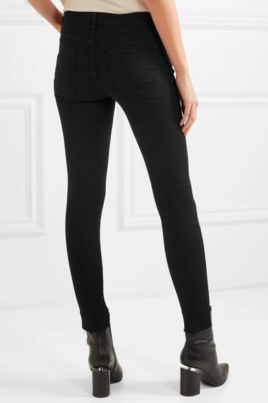 FRAME Skinny de Jeanne Raw Stagger halbhohe Jeans