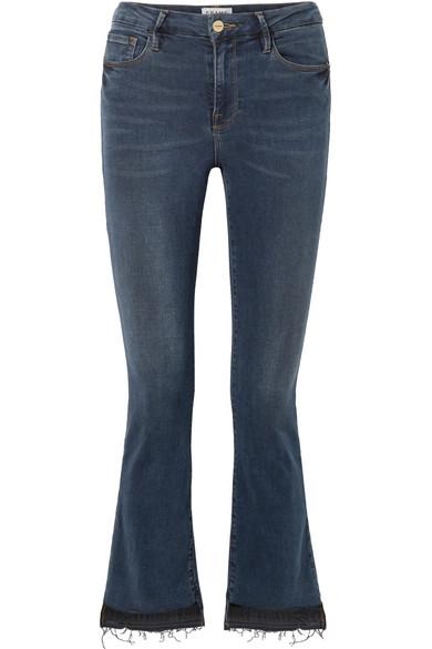 FRAME Le Crop Mini halbhohe Bootcut-Jeans mit Fransen