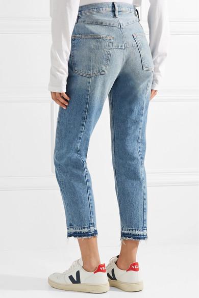 FRAME Le Original hoch sitzende, ausgefranste Jeans mit geradem Bein und Reißverschlussdetails